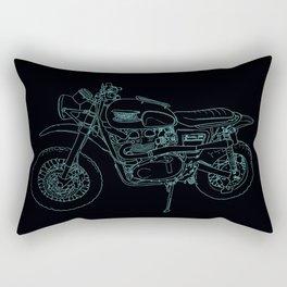 Blue Neon Motorcycle Rectangular Pillow