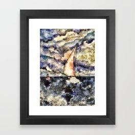 Sailboat steady in the storm Framed Art Print
