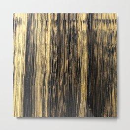 Elegant black faux gold acrylic abstract brushstrokes Metal Print