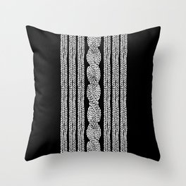 Cable Stripe Black Throw Pillow