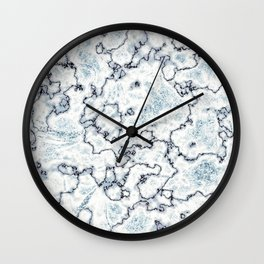 Metallic Blue and White Marbled Texture Wall Clock