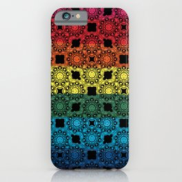 Pride Flag Overlayed with a Flower Doodle Graphic  Design iPhone Case