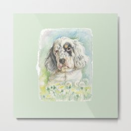 ENGLISH SETTER PUPPY Cute dog portrait on the dandelions meadow Metal Print