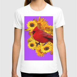 RED CARDINAL & YELLOW SUNFLOWERS PANTENE PURPLE T-shirt