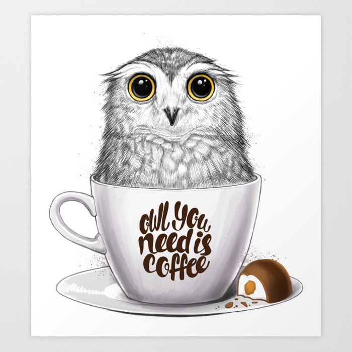 Night Owl Keepers curates Owl you need is coffee Art Print by nikitakorenkov at Society 6