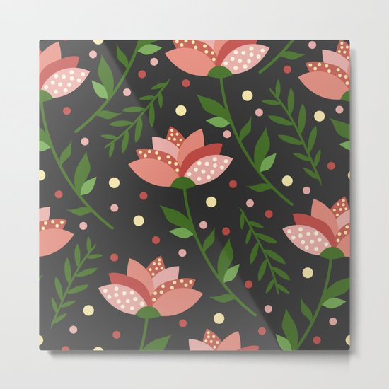 Floral grey pattern. Metal Print