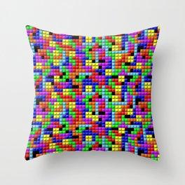 Tetris Inspired Retro Gaming Colourful Squares Throw Pillow