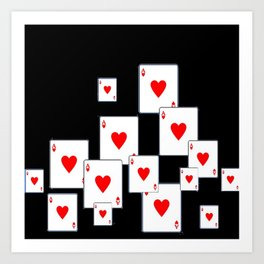 RED HEART ACES CASINO PLAYING CARDS ON BLACK Art Print