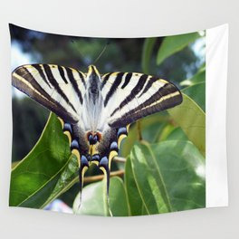 Swallowtail Buttterfly Resting on Oleander Leaves Wall Tapestry