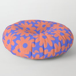 Crayon Flowers 3 Cheerful Smudgy Floral Pattern in Coral and Bright Blue Floor Pillow
