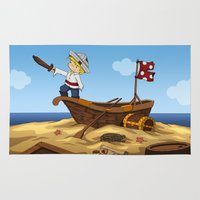 pirate ship Area & Throw Rugs featuring Pirate by TubaTOPAL