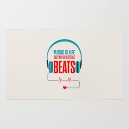 Lab No. 4 - Music Is Life.. That's Why Our Hearts Have Beats Motivational Quotes Poster Rug