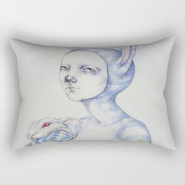 The white rabbit Rectangular Pillow