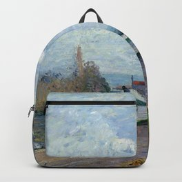 """Camille Pissarro """"The Oise near Pontoise in Grey Weather"""" Backpack"""