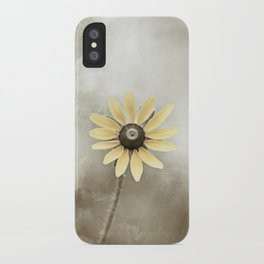 Minimal Flower Photography, Brown Beige Yellow Art, Modern Tan Floral Nature Photo iPhone Case