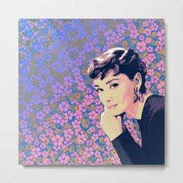 Audrey Hepburn Illustration Metal Print