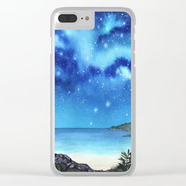 """""""Blue Paradise"""" galaxy landscape painting Clear iPhone Case"""
