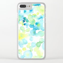 Green and Yellow Bubbly Bubbles Clear iPhone Case