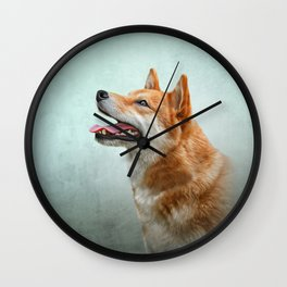 Drawing Japanese Shiba Inu dog 2 Wall Clock