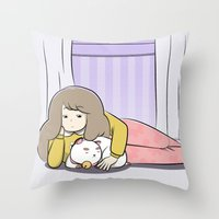 puppycat Throw Pillows featuring My Puppycat by Annemator
