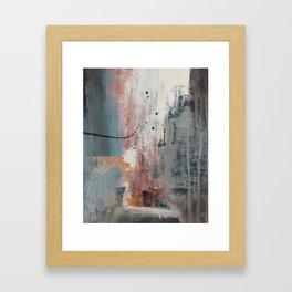 S'il Vous Plait: an abstract mixed-media piece in blue, gray, and gold by Alyssa Hamilton Art Framed Art Print