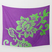floral pattern Wall Tapestries featuring Floral Pattern by Marjolein