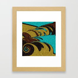Aqua, Brown, and Gold Mosaic Framed Art Print