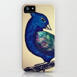 Blue Iridescent Bird iPhone Case