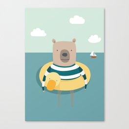 Bear in the Sea Canvas Print