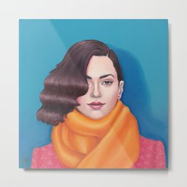 The Orange Scarf Metal Print