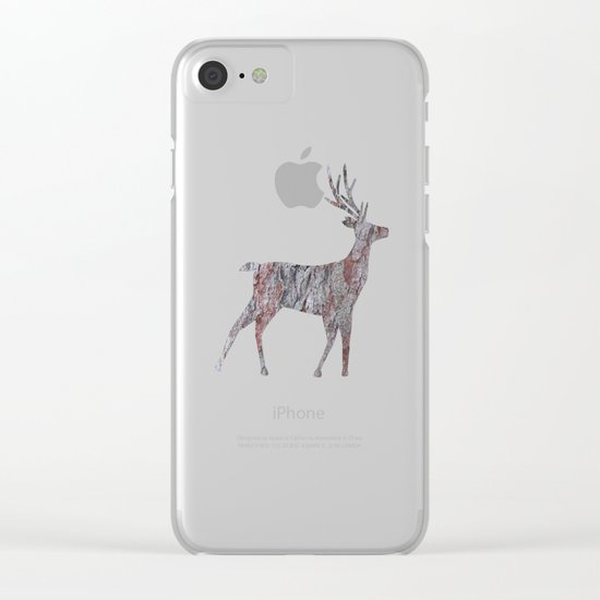 deer silhouette stag pine bark Clear iPhone Case