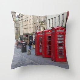 Telephone Booths Royal Mile Edinburgh Throw Pillow