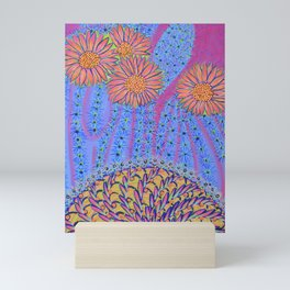 Spiky Saguaro Blooms and Spiny Basket - Desert Energy Mini Art Print
