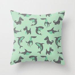 Sharks and Barks - Teal & Grey Throw Pillow
