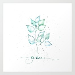 Grow watercolor leaves Art Print