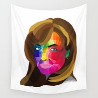 angelina jolie Wall Tapestries featuring Angelina Jolie - popart portrait by Dep's
