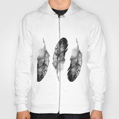 Three Feathers Black And White Hoody