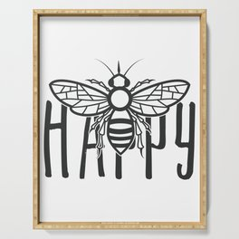 Bee Happy Cute Honey Bee Happiness Motivational Gift Serving Tray