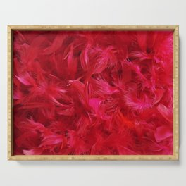 Red Feathers Serving Tray