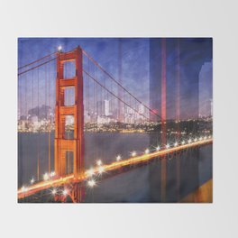 City Art Golden Gate Bridge Composing Throw Blanket