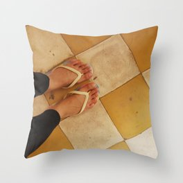 Footsteps in Tuol Sleng Throw Pillow