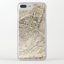 19th Century Topographical Vintage Antique Map Munich Germany Steampunk Clear iPhone Case