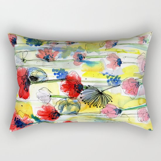 Poppy Floral Rectangular Pillow