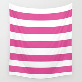 Raspberry pink - solid color - white stripes pattern Wall Tapestry