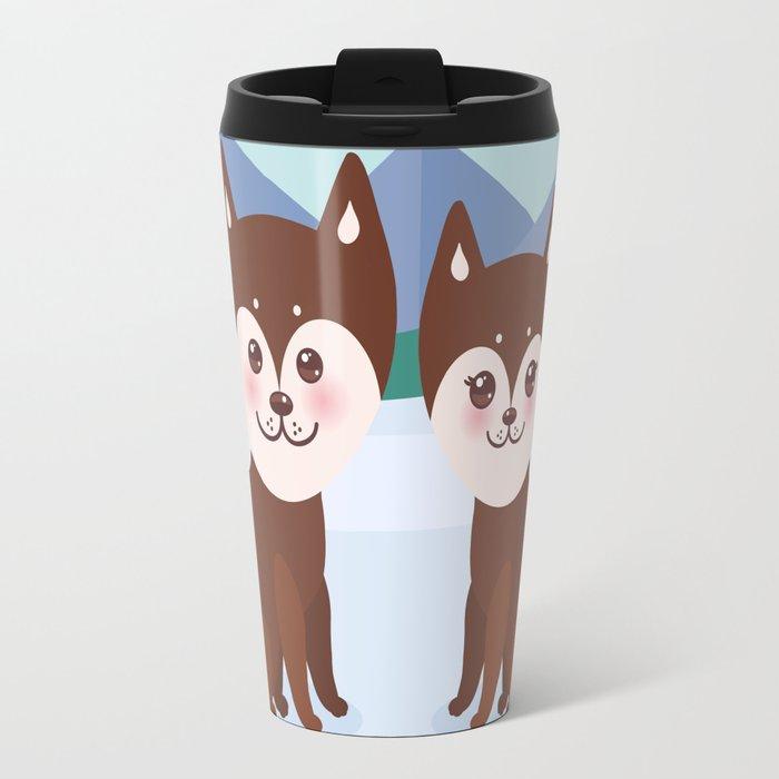Kawaii funny brown husky dog, face with large eyes and pink cheeks, boy and girl, mountain landscape Travel Mug