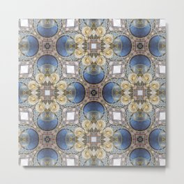 Blue and Gold Pattern Metal Print