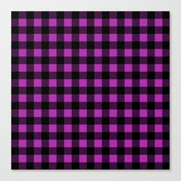 Plaid (Black & Purple Pattern) Canvas Print