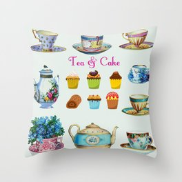 Tea & Cake Throw Pillow