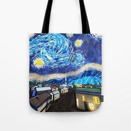 Tardis Art Starry City Night Tote Bag