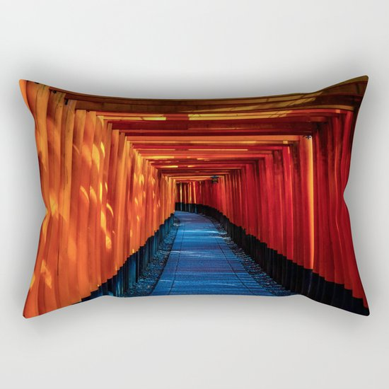 blue orange temple Rectangular Pillow